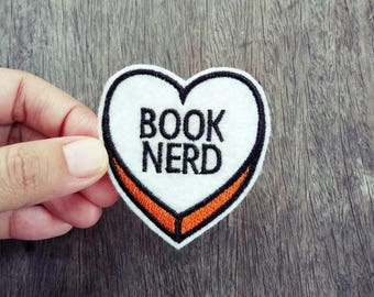 Book Nerd on a Heart Iron on Patch