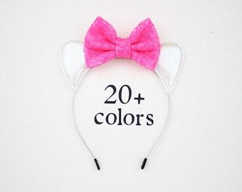 Cat Ears Headband with Pink Bow   Girl Headband   Birthday Ears   1st Birthday   Girl outfit   Birthday Headband   Cat Ears + Hot Pink Bow