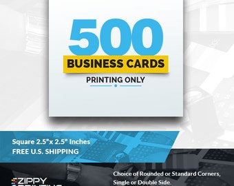 """500 Square Business Cards 2.5"""" x 2.5"""" Printing Rounded Corners, Matte or Glossy"""