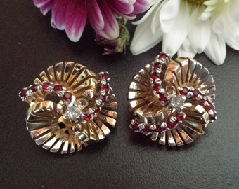 Jomaz Earring Clips Red and Clear Rhinestones