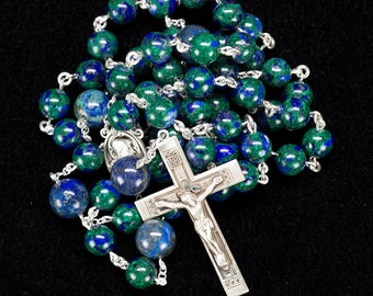 Azurite Men's Rosary Beads - Blue, Green Handmade, Catholic Man's Rosaries, Sacred Heart of Jesus, Sterling Silver Crucifix, Gift for Dad