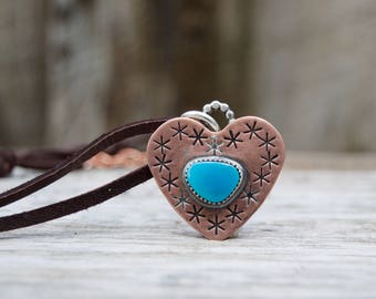 Kingman Turquoise Copper Large Heart . Handmade . Rustic . Hand Forged. Hand Stamped . Vintage Turquoise . Relics