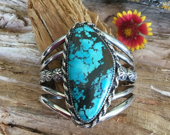 Turquoise Cuff Bracelet/ Artisan Handmade/ Sterling Silver/  Native American Southwestern Style