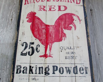 Rhode Island Red Rooster Kitchen Sign