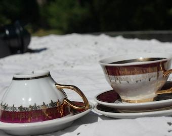 Yugoslavian demitasse cups and saucers