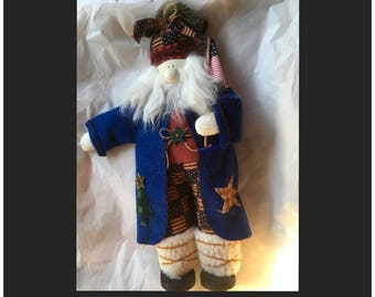 Fabric felt fur wood footed patriotic Father Christmas Santa Claus red white blue