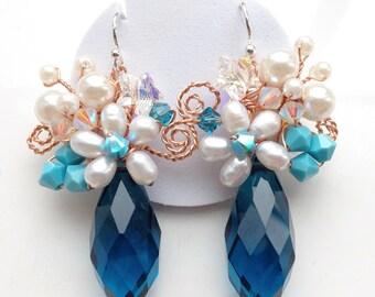 Blue earrings - blue crystal earrings - something blue - floral jewellery - statement jewellery -chunky earrings - bridesmaids earrings