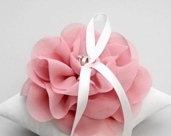 Pink ring pillow, flower ring holder, ring cushion ring pillow wedding - Aria
