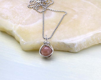 Peach Moonstone Pendant Necklace- Moonstone Gemstone- Sterling Silver Wire Wrapped- Moonstone Necklace
