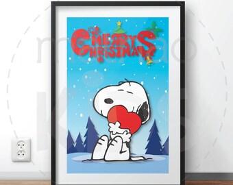 Snoopy Christmas-Poster Christmas-Printable-Card Christmas-Merry Christmas-Holiday-room Kids-Decoration rooms-Gift Christmas