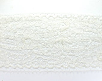 STRIPE FINE CHANTILLY LACE IVORY FLOWER SMALL SCALLOPS ON BOTH LIGHT ANOTHER 7 CM 50CM BY 50CM