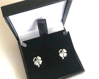 Sterling Silver Four Leaf Clover Earrings Boxed