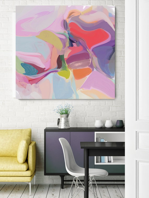 """Birthday Song, Red Purple Yellow Abstract Canvas Art Print up to 50"""", Red Purple Yellow Abstract Canvas Art Print by Irena Orlov"""