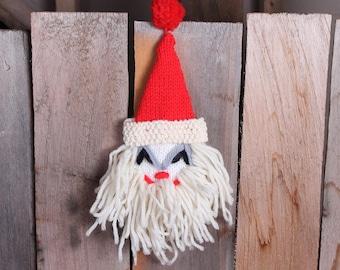 Vintage Yarn Crocheted Kitsch Santa Face Creepy Funny Yarn Head Pom Pom
