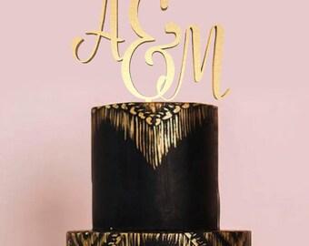 Initial Cake Topper Monogram, Letter Cake Topper, Wedding Cake Topper, Custom Cake Topper, Wedding Monogram, Glitter Cake Topper, Gold Cake