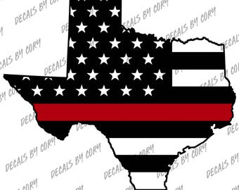 Texas State US Flag Thin Red Line Outline Car Decal Houston San Antonio Dallas Austin Fort Worth  Fire Fighter Fire Department Rescue