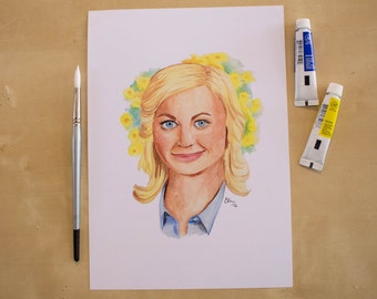 Leslie Knope - Amy Poehler - Parks and Recreation -  Watercolour Portrait Print
