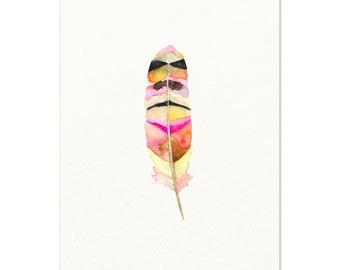 Feather Wall Art. Tribal Watercolor Feather Art Print. Modern Boho Living Room Decor. Gift For Her. Southwest Style. Boho Pink Feather Art.