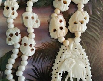 Vintage Bone Carved Elephant Beaded Necklace