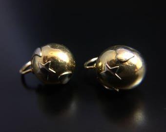 Italian 14K yellow gold heart moon star ball earrings