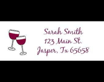 30 Return Address Labels - Wine  - Wine Bridal Shower - Wine and Cheese Party