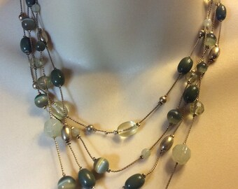 Vintage 1960's multi strand green beads beaded necklace