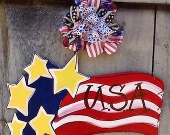 Patriotic door sign, patriotic door hanger, 4th of July sign, Uncle Sam sign, usa door sign, USA door hanger, God Bless America door sign