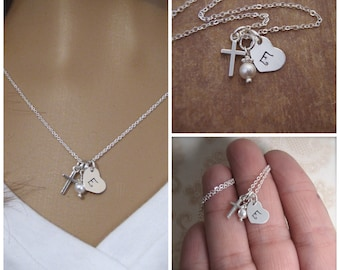 Initial and cross necklace - Tiny cross and tiny initial - Goddaughter gift - First Communion - Baptism gift - Photo NOT actual size
