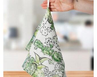 Tea towel, cactus, linen towel, cactus print, housewarming gift, farmhouse decor, personalized Gift, birthday gift, 30th birthday gift