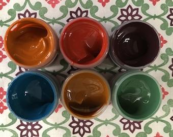 Fabric Paint Set - Mediterranean Colors - Starter Set - Fabric Printing - Six Custom Colors
