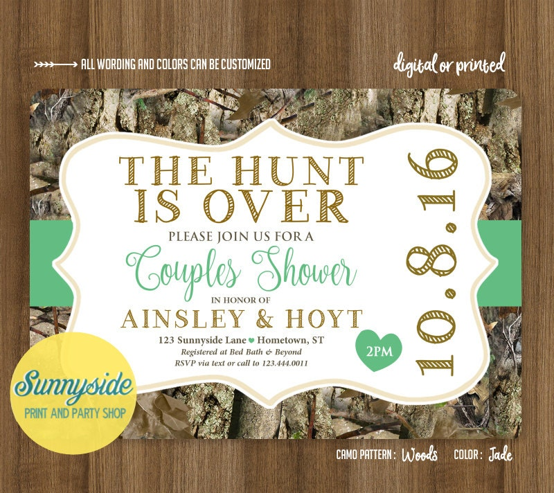 The Hunt is Over Couples Shower Invitation Camo Co-ed