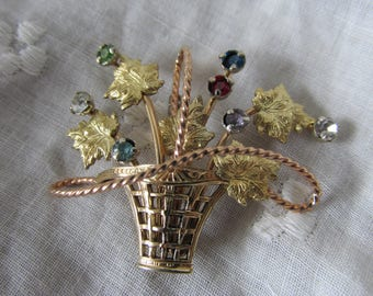 Rare Vintage KREMENTZ Floral Basket BROOCH Gold Plated Multi Color Gemstones Marked Ladies Collectible All Occasion Anniversary Birthday