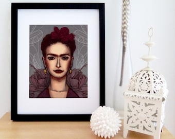 Illustrated portrait of Frida Kahlo | Frida art | Burgundy drawing | portrait of a woman | poster for living room | 8'' X 10''