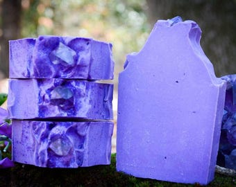 Amethyst Crystal Soap-Gemstone Soap~Geode Soap~Cold Process Soap~boho