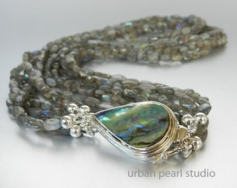 Labradorite Necklace, Multi Strand Gemstone Necklace with Abalone Box Clasp, Wedding Bridal Jewelry