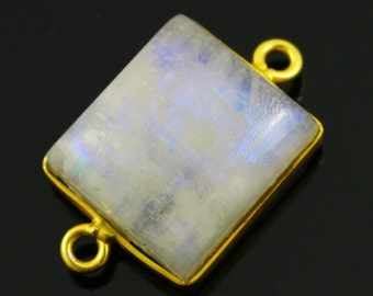 Rainbow moonstone connector, Rainbow moonstone, Rainbow Moonstone Bezel, Bezel Connector-Bezel Stone Connector-Gemstone pendant,(RNMC561)