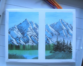Table diptic decoration mountain landscape oil painting wall House Gift