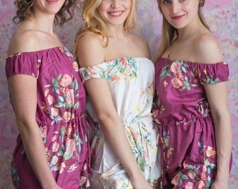 Short Sleeved Off the shoulder style Rompers in Plum Dreamy Angel Song Pattern