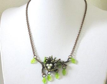 Birds Nest Necklace Copper Tree Branch Jewelry Sparrow