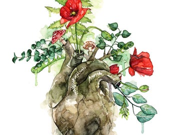 "Watercolor Painting, Anatomical Heart, Anatomical Heart Print, Botanical, Human Heart, Heart, Watercolor Flowers, Print titled ""Overgrown"""