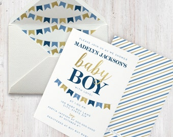 Navy and Gold Baby Boy Shower Invitation, Bunting, Banner, Flag Baby Shower Invite, Envelope Liner