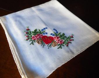 VINTAGE White Needlepoint Embroidered Heart & Flower Corner Linen Handkerchief