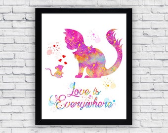 Love Is Everywhere Watercolor print, Love Is Everywhere Printable Wall Art, Love Is Everywhere wall decor, Love Is Everywhere poster