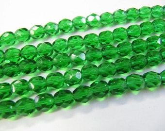 Faceted 6mm Round Beads Fire Polished Glass Beads, Green, Czech Glass, 25 beads, Choose One or Two Strands, Emerald