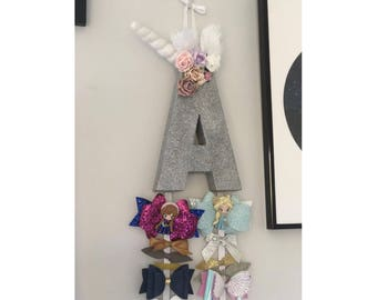 Personalised Unicorn Letter Bow Holder // Floral Flowers Glitter Birthday Present Gift Sparkle
