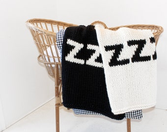 Baby Blanket ZZZ for Bassinet, Stroller, or Car Seat Hand Knit