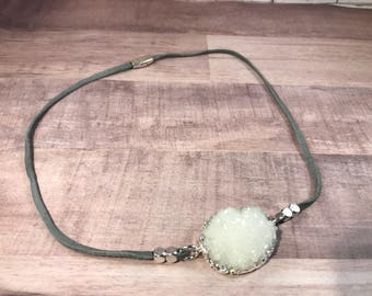 Vegan Suede Grey Necklace with Quarts Crystal Stone Finished with Magnetic Claps