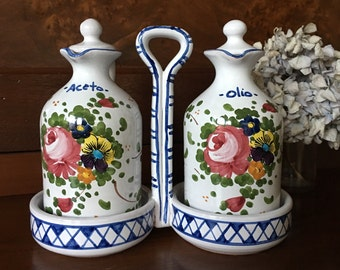 Italian Majolica Ceramiche - Oil and Vinegar Cruet Set - Hand Painted with Caddy - L Pardi Castelli Rossi