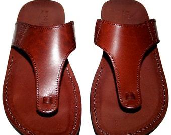 Brown Wave Leather Sandals For Men & Women - Handmade Unisex Sandals, Flip Flop Sandals, Jesus Sandals, Genuine Leather Sandals