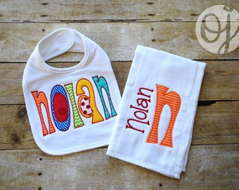 Personalized  Baby Bib and Burp Cloth - Classic Baby -  Newborn - Infant Burp Cloth and Bib - Bright Color - NEW